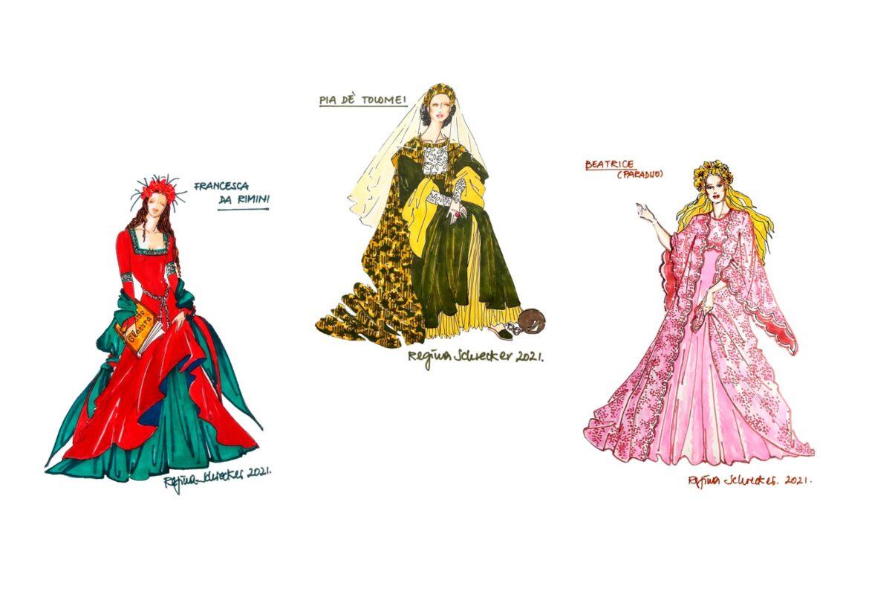 Francesca, Pia e Beatrice: gli abiti di Regina Schrecker ispirati alla Divina Commedia nella mostra romana 'Dante e Altre Visioni'